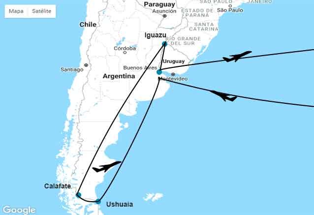 Viaje patagonia iguazu buenos aires mapa patagonia bidtravel oferta