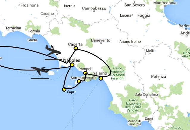 Viaje circuito campania italia campania map
