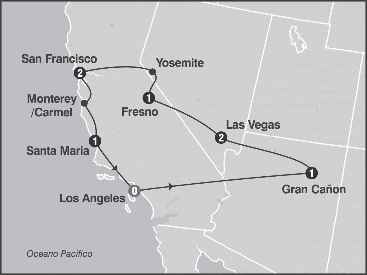 Viaje fantasias del oeste usa mapa