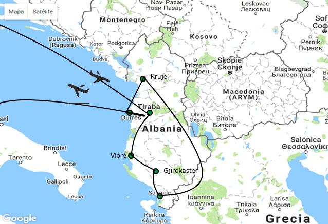 Viaje albania clasica mapa albania 8 dias