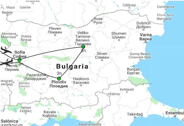 Viaje bulgaria clasica 8 dias mapa bulgaria clasica