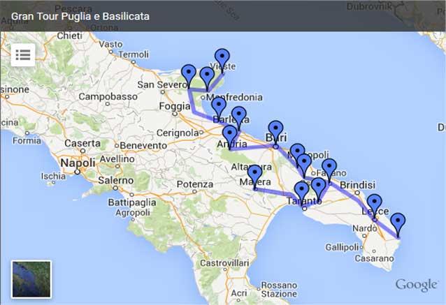 Viaje mini circuito apulia italia mapa apulia circuito