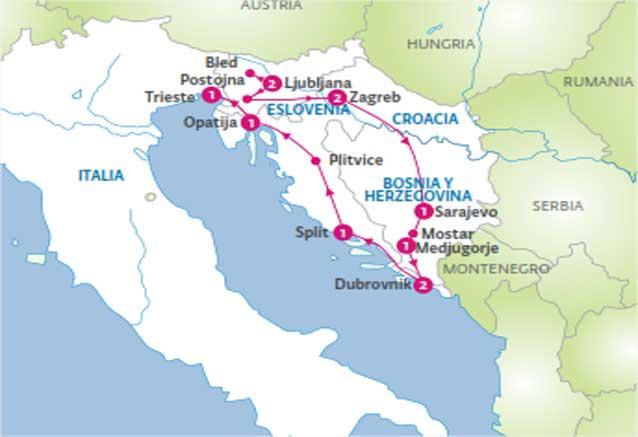 Viaje perlas eslovenia bosnia croacia Mapa Perlas Adriatico