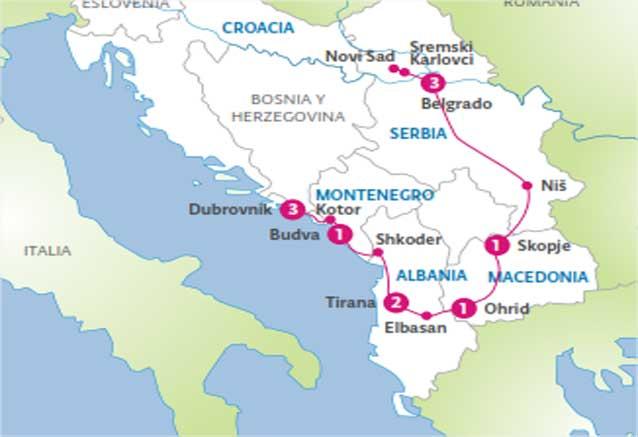 Viaje albania dubrovnik mapa dubrovnik a belgrado