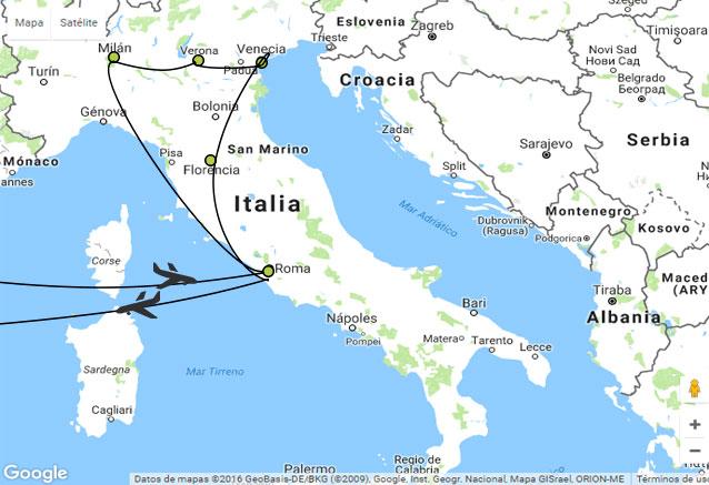 Viaje tour emperadores apulia mapa