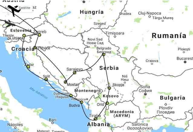 Viaje gran tour balcanes 15 dias mapa balcanes 15 days