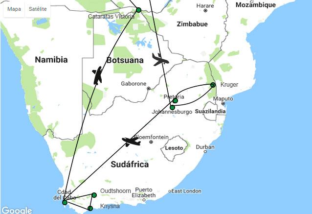 Viaje paisajes sudafrica cataratas cataratas victoria mapa