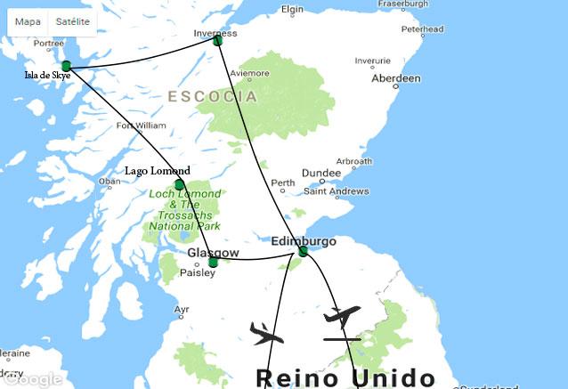 Viaje viajando escocia 8 dias mapa esocia espa