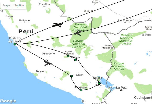Viaje tesoros del sur del peru mapa tesoros del sur de peru