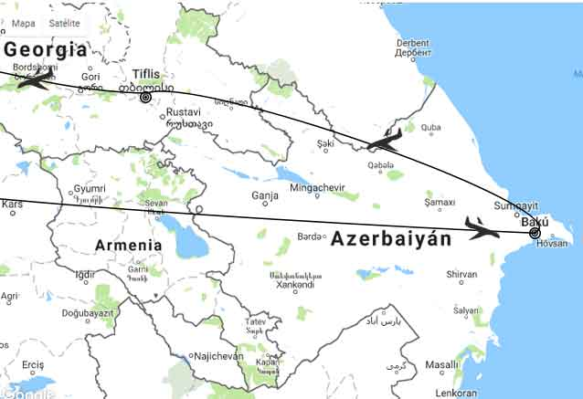 Viaje azerbaiyan georgia cultural mapa