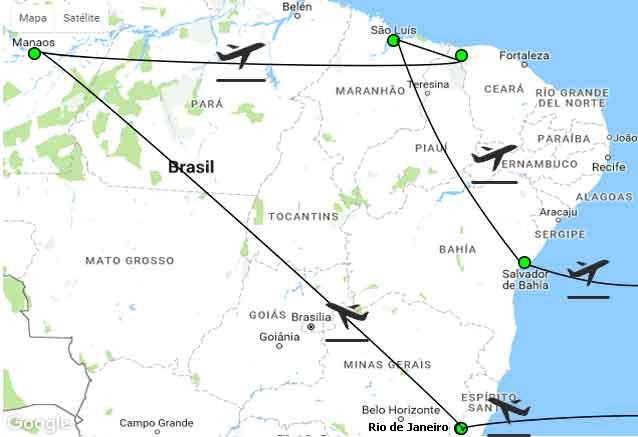 Viaje todo brasil selva mapa tood brasil