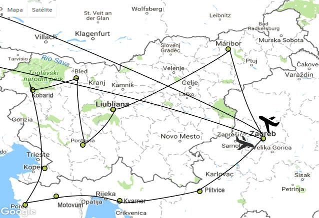 Viaje maravillas eslovenia 8 dias Maravillas de eslovnia mapa