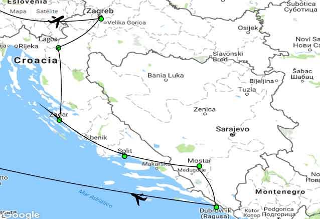 Viaje croacia eslovenia bosnia oferta mapa dbv y tre mas