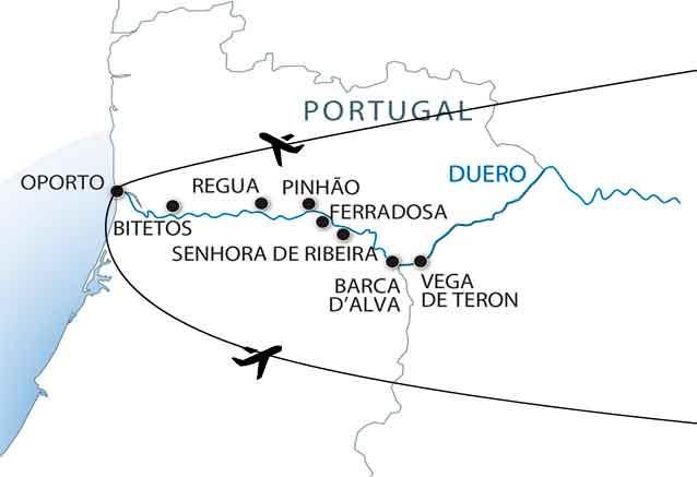 Viaje crucero duero mapa duero