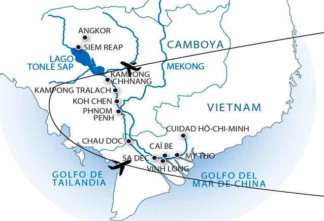 Viaje crucero del mekong angkor plano del mekong