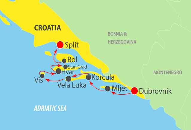 Viaje crucero adriatico croacia mapa crucero prestige