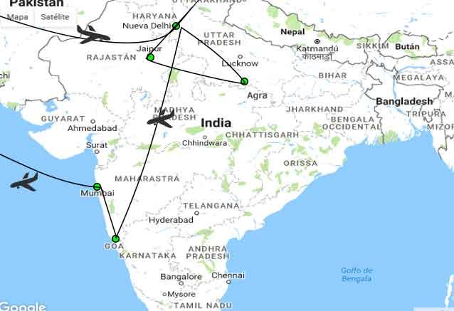 Viaje delhi agra jaipur goa munbai plano con goa