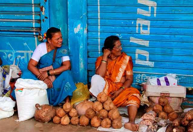 Viaje delhi agra jaipur goa munbai vendedoras de cocos en goa