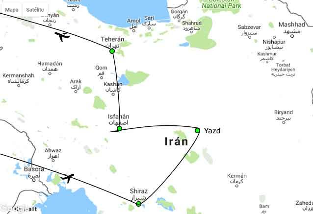 Viaje bellezas iran 8 dias mapa alaedin iran