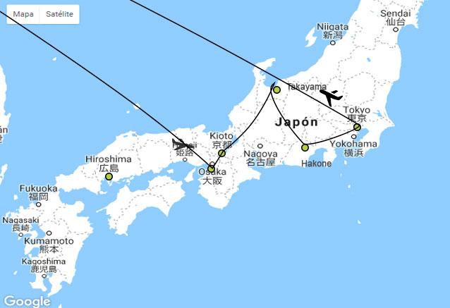 Viaje capitales imperiales japon mikatour plano