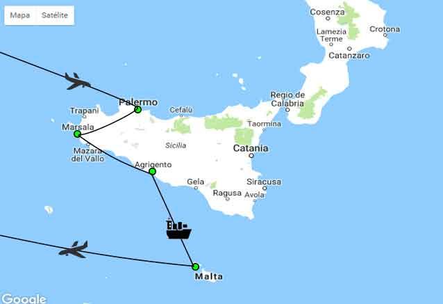 Viaje sicilia malta viajar es facil mapa malta sicilia