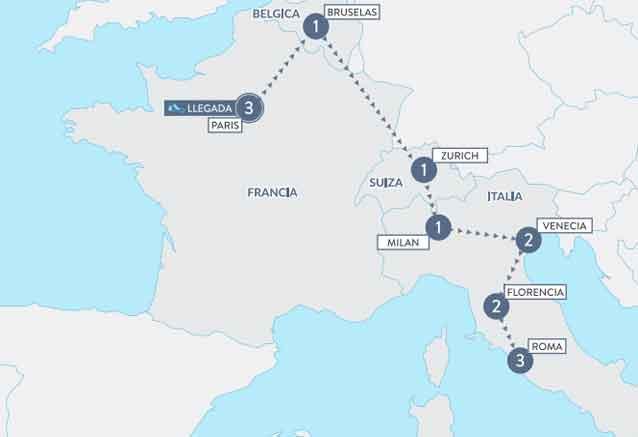 Viaje sofisticada europa mapa delon francia