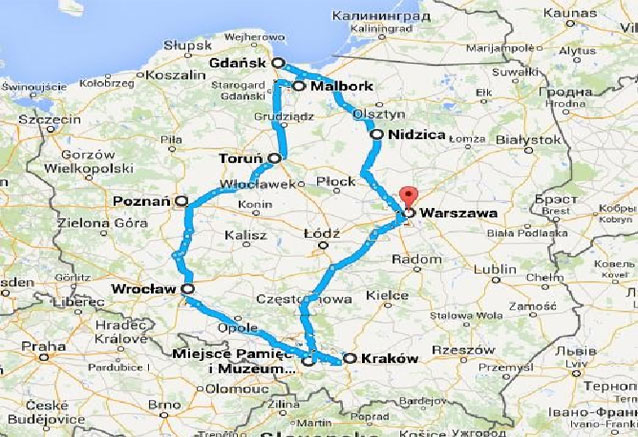 Viaje polonia norte sur mapa norte sur