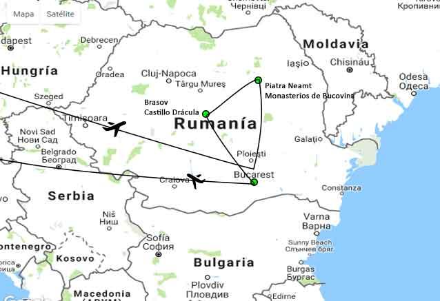 Viaje rumania romantica mapa bucovina